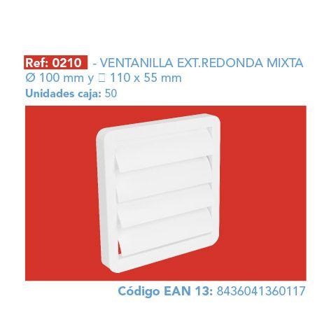 REJILLA MOVIL REDONDA MIXTA SALIDA GASES PVC 100-110X55MM 0210